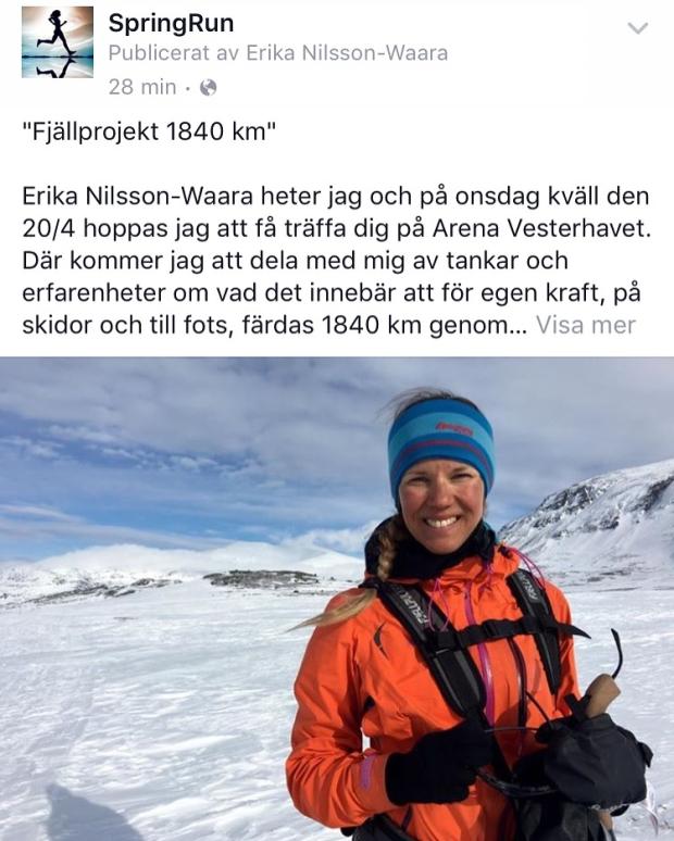 Den 20 april och 2 maj föreläser Erika på SpringRun