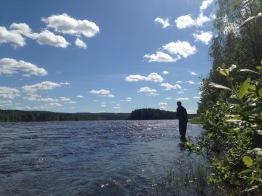 Harrfiske nedströms Kalixälv. Foto: Linnea Nilsson-Waara.