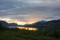 Solnedgång i Saltoluokta.
